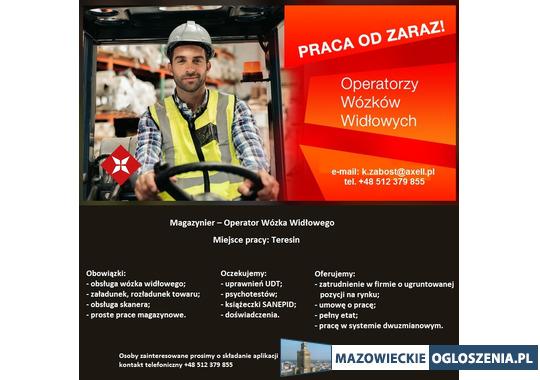 Magazynier - Operator Wózka Widłowego - Teresin